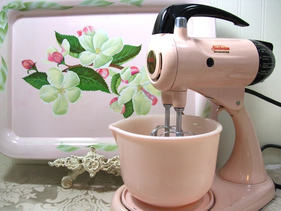 Reserved for Tricia Pink MixMaster by Sunbeam 1950s Mixer Mix Master Retro