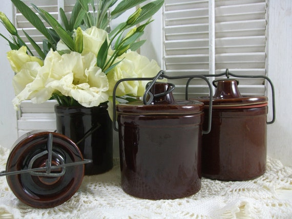 Brown Stoneware Cheese or Butter Crocks