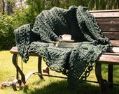 The Hemingway Afghan... a thick, cozy, evergreen blanket you'll treasure in your cabin or home