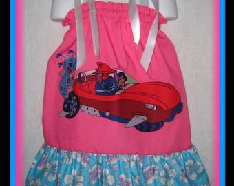 Lilo & Stitch Boutique Pillowcase Dress w/ Light Aqua/Pink Hawaiian Print Layer Size 24M/2T 3T/4T 5/6 7/8