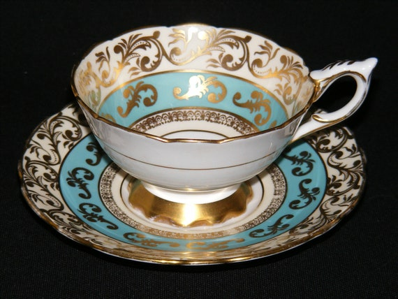 Royal Stafford Teacup and Saucer Blue and Gold circa 1950s
