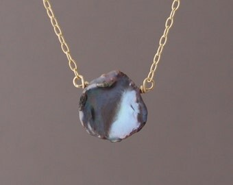 Large Gray Freshwater Pearl Necklace in both gold fill and sterling silver