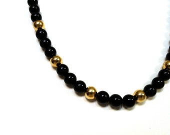 Vintage Jewelry Black and Gold Single Beaded Necklace Gift for her Summer Gypsy Beads Hippie Festival ON SALE