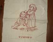 19th C. Baby's First Haircut Embroidered Redwork BIB