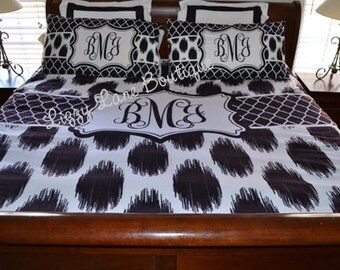 Custom Personalized Monogrammed Duvet Cover OR Comforter SET with Pillowcases (Twin, Full/Queen, or King)
