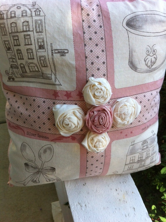Pink and Cream Shabby Chic Pillow- Oooh La La Decor with Beautiful Rosettes