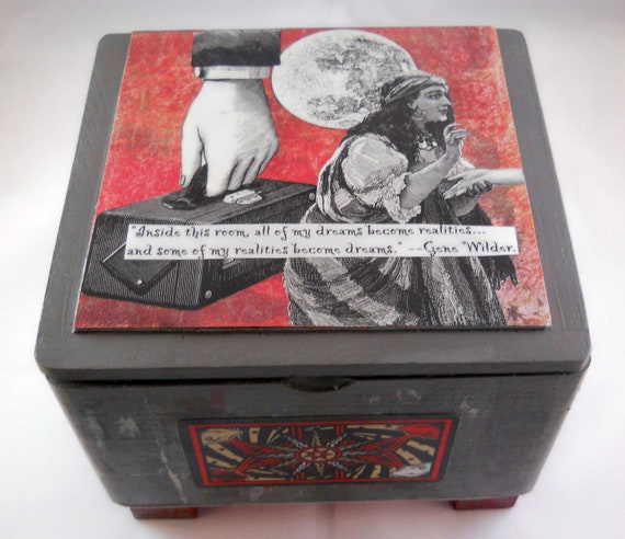 Altered Collage Cigar Box: Surreal Dreams with Tarot Cards and Ink Engravings
