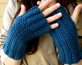 Crochet Fingerless Gloves with Ribbing Detail in Blue Smoke // Ready to ship