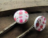 SALE Floral Button Hair Bobby Pins Set of 2