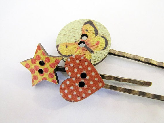 Bobby Pins Wooden Buttons Butterfly Star Heart - Set of 3