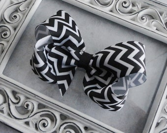 Black & White Chevron Bow, Chevron Hair Bow, Baby Bow,  Large Boutique Bow, Girls Hairbow, Twisted Boutique Hair Bow