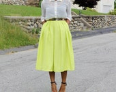 Lime Green Midi Skirt With Pockets- available in 12 colors