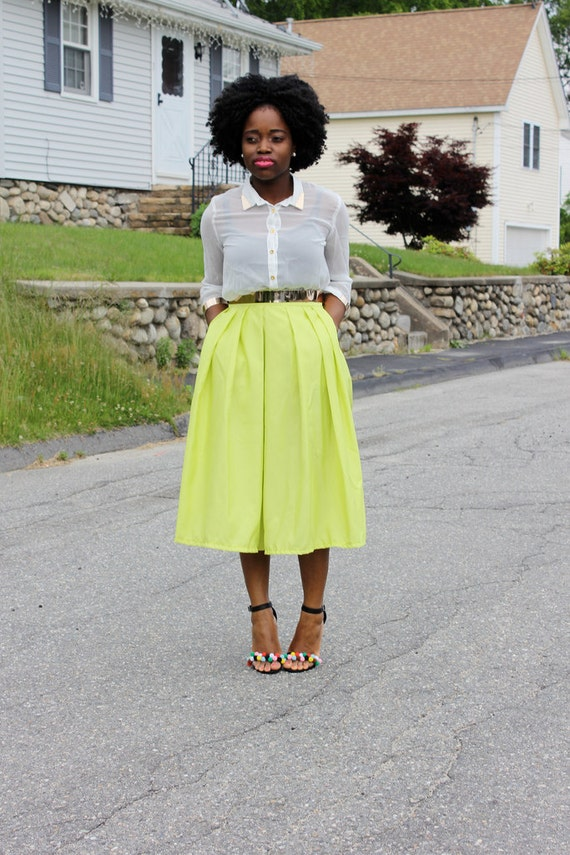 Lime Green Midi Skirt With Pockets available in 12 colors