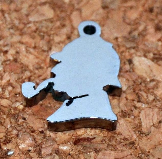 Upcycled HDD cut charm. Sherlock Holmes with smoking pipe.
