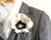 Felted flower pin brooch - white black orchid - felt flower - summer fashion - wedding flower - AgnesFelt