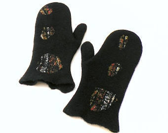 Felted wool mittens - black mittens - ready to ship