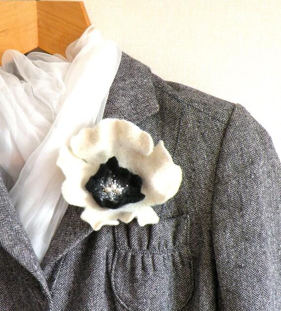 Felted flower pin brooch - white black orchid - felt flower - wedding flower