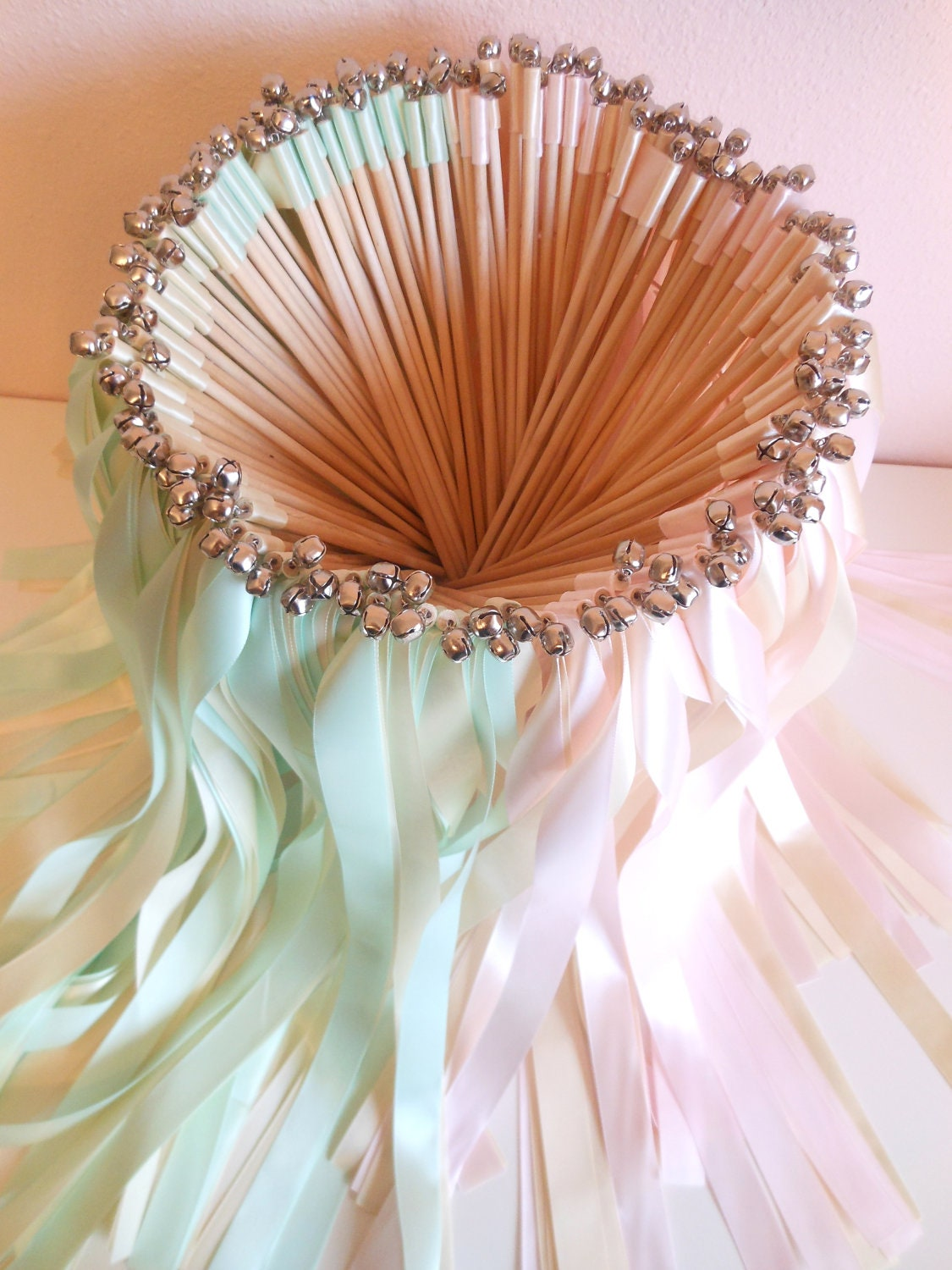 Wedding wands 100 double ribbon wands with bells for Wedding wands