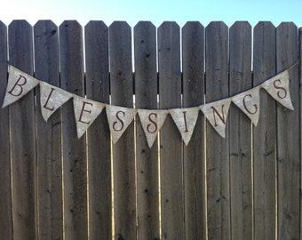 White Wash Blessings Burlap Banner / Bunting