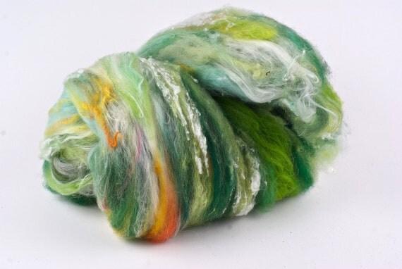 Spinning Wool - Fiber Art Batt - Mixed Fibers - Green Ocean Wave - by WoolWench