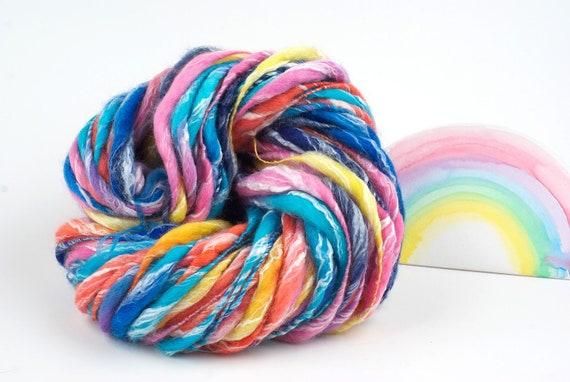 Handspun Hand dyed Yarn, Rainbow Merino Bamboo Blend