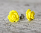 Yellow Rose Earrings - Handmade Flower Stud Earrings - Bridesmaid Gift