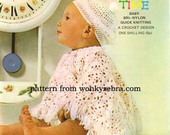 Crochet Poncho and Beret PDF Vintage Pattern B023 from WonkyZebraBaby