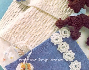 Poodle and Baby Blanket Knitting PDF Pattern B046 from WonkyZebraBaby