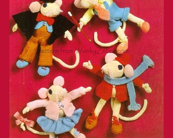 Knitted Toys Pattern PDF B268 Charlie and Friends from WonkyZebraBaby