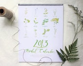 2013 HERBAL CALENDAR // With Hand-Painted Illustrations of Herbs with their Key Actions & Federal US Holidays 8.5x11""