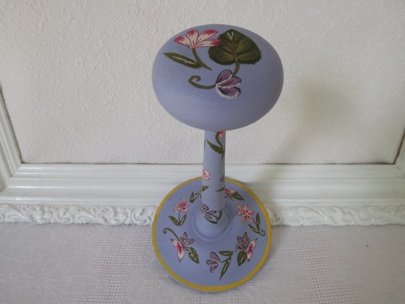 Reserved For Jennifer Vintage April Cornell Hand Painted Periwinkle Hat Stand With Floral Motif Circa 1980