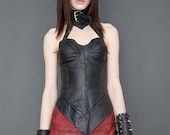 Black Leather Halter Bustier