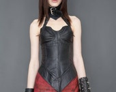 Hand Dyed Red Leather Miniskirt