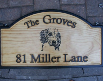 Personalized Outdoor Wood Plaque Sign Hanging W/ Family Name / Beagle / Street Name Hand Painted