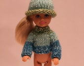 55  Handmade Knit Raglan Sleeve Sweater and Hat Set for Chelsea Sister of Barbie