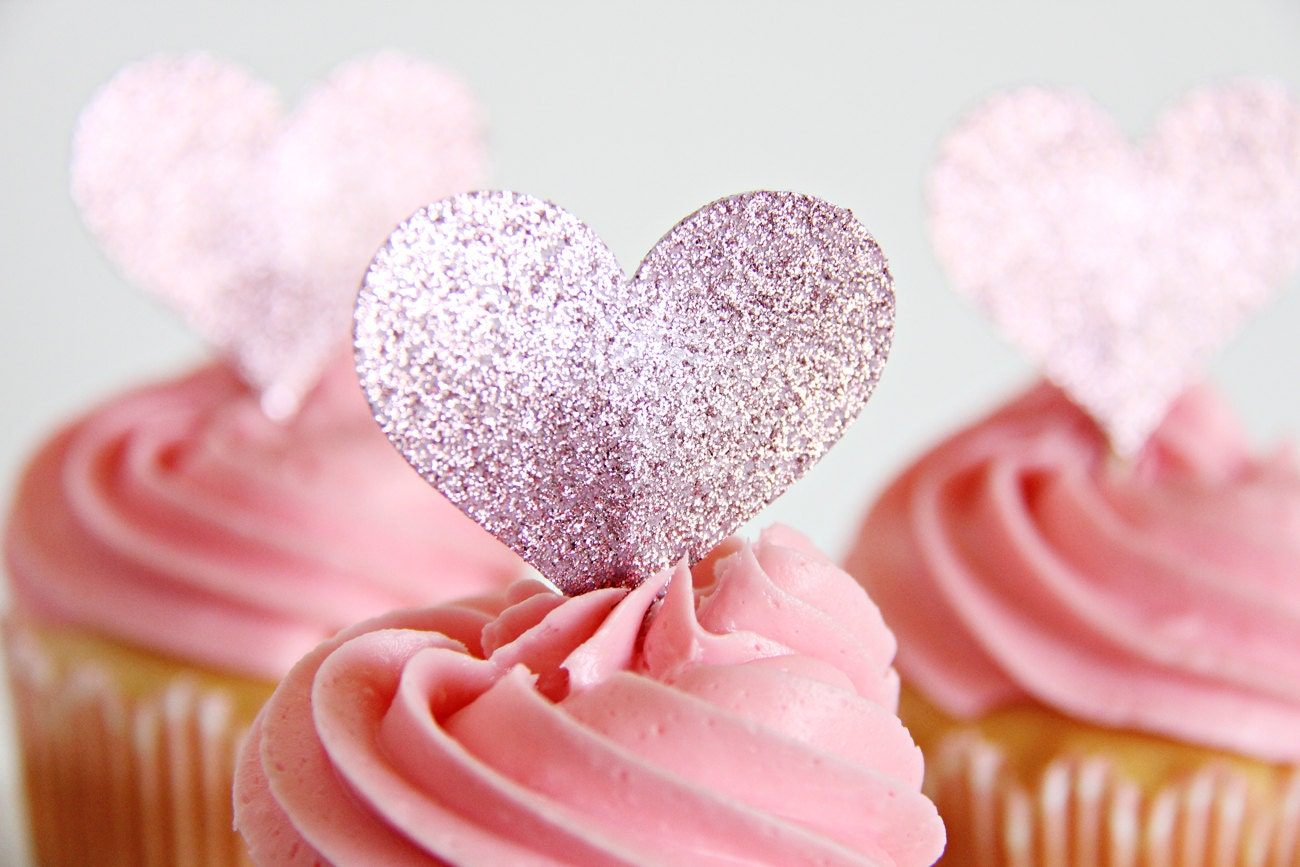 Wedding Cupcake Toppers Heart Shaped Cupcake toppers