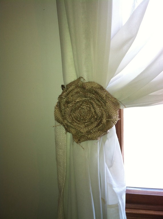 """Burlap Curtain Tie Back, Pair, Natural Loosely Wrapped 5"""" Flower"""