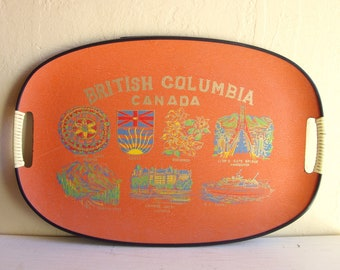 Large Orange Canada Souvenir Tray with Handles British Columbia