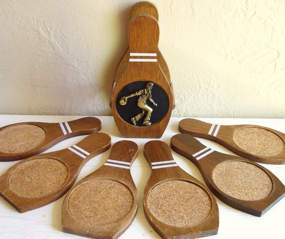 Vintage Wood Bowling Pin Coaster Set Complete