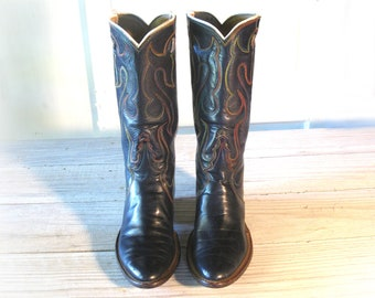 Vintage Cowboy Boots, 60's CUSTOM High Quality, Navy Blue All Leather, Women's size 5 or 5.5 M