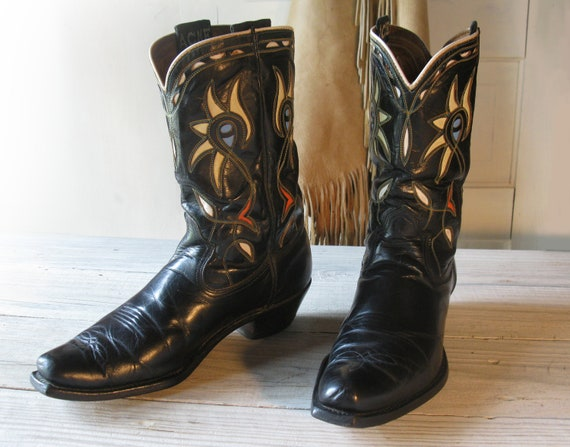 Men's 50's 60's ACME Black All Leather Cowboy Boots with Colorful Inlays, size 9.5 D