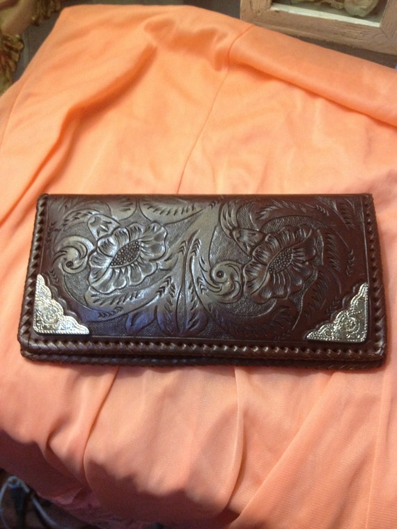 Vintage Western Mexican 40s Style Hand Tooled Leather Wallet with Silver Design Tabs at Corners Floral Design