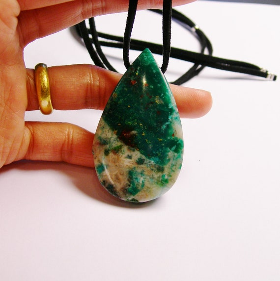 Natural Genuine Chrysocolla  gemstone pendant  with Suede cord necklace