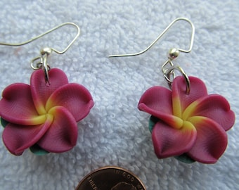 21mm Hawaiian Vibrant Magenta Plumeria Frangipani Polymer Clay Dangle Earrings with a Yellow Center and Leaves