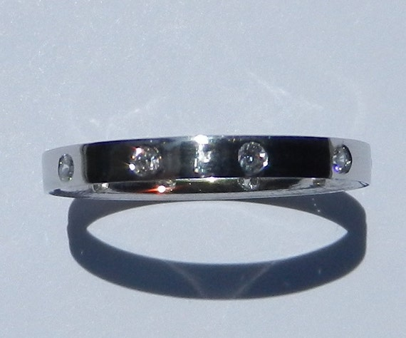 Natural Untreated Diamond Wedding Band Solid 950 Platinum / Stackable Ring