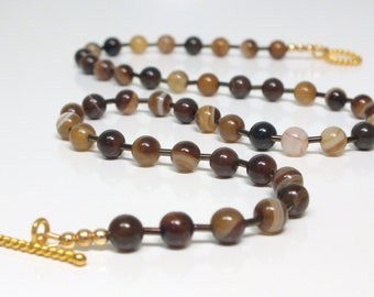 Brown and White Coffee Banded Agate Choker Necklace