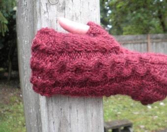 Handknitted fingerless gloves, Size S - M