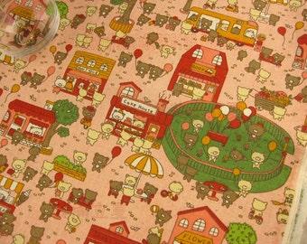 LF071 - Linen Cotton Blended Fabric - Cute Little Bears - Pink  - 1/2  yard