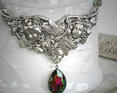 RAINBOW CONNECTION romantic vintage fantasy inspired dragonfly fairy necklace with large Swarovski crystal, free gift boxing