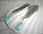 OCEAN ANGEL romantic vintage Victorian fantasy angel wing earrings with ocean blue pearl drops